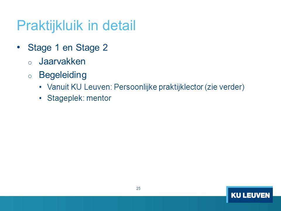 Praktijkluik in detail 25 Stage 1 en Stage 2 o Jaarvakken o Begeleiding Vanuit KU Leuven: Persoonlijke praktijklector (zie verder) Stageplek: mentor