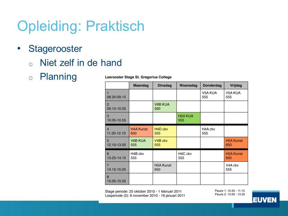 Opleiding: Praktisch 35 Stagerooster o Niet zelf in de hand o Planning