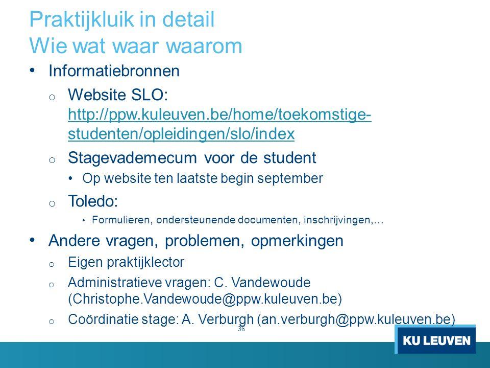 Praktijkluik in detail Wie wat waar waarom 36 Informatiebronnen o Website SLO: http://ppw.kuleuven.be/home/toekomstige- studenten/opleidingen/slo/inde