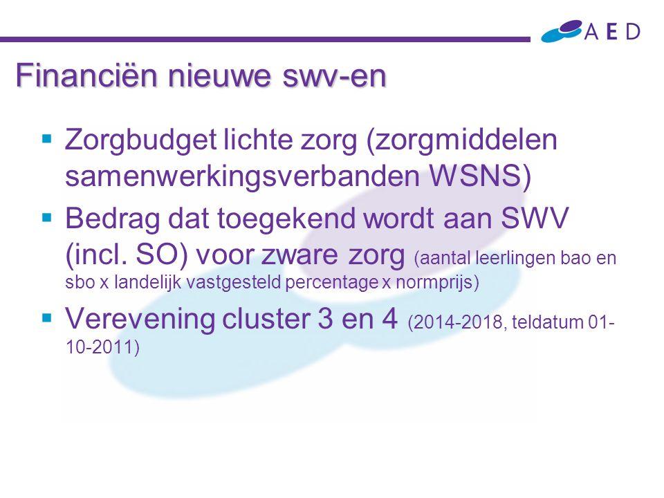 Financiën nieuwe swv-en  Zorgbudget lichte zorg ( zorgmiddelen samenwerkingsverbanden WSNS)  Bedrag dat toegekend wordt aan SWV (incl. SO) voor zwar