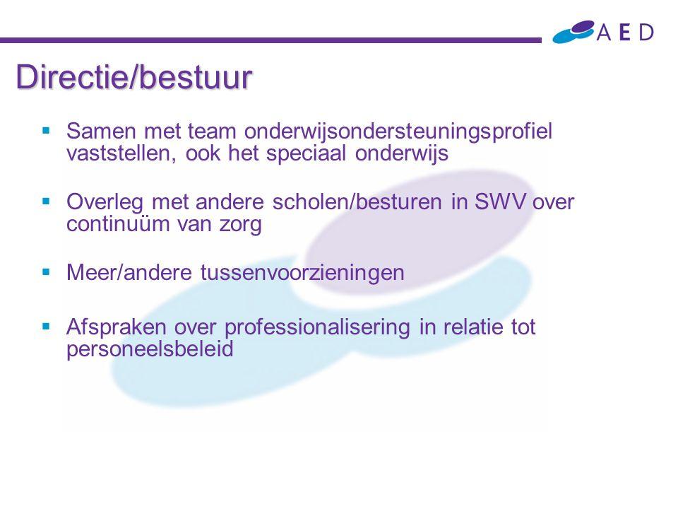 Directie/bestuur  Samen met team onderwijsondersteuningsprofiel vaststellen, ook het speciaal onderwijs  Overleg met andere scholen/besturen in SWV