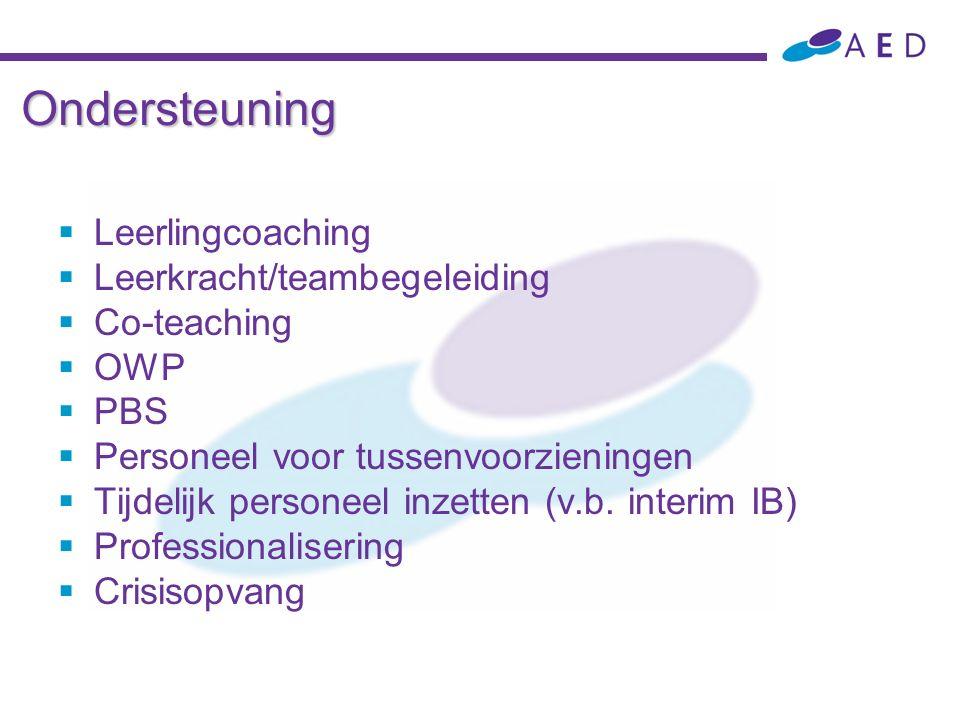 Ondersteuning  Leerlingcoaching  Leerkracht/teambegeleiding  Co-teaching  OWP  PBS  Personeel voor tussenvoorzieningen  Tijdelijk personeel inz