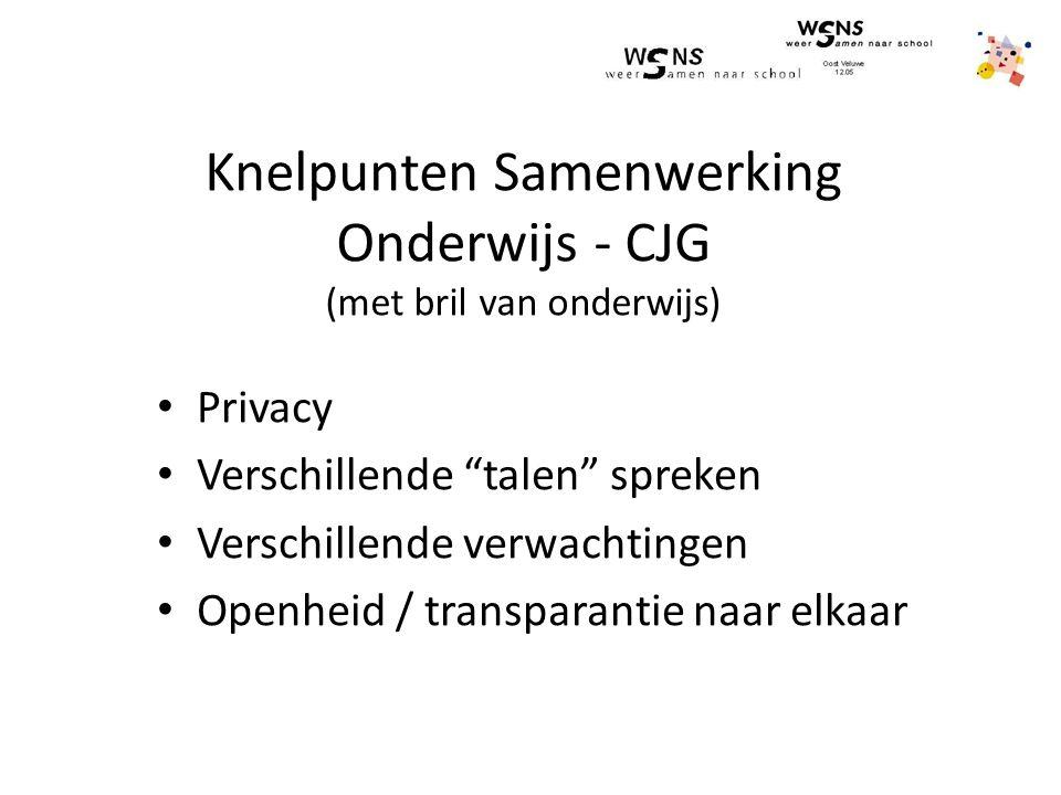 Knelpunten Samenwerking Onderwijs - CJG (met bril van onderwijs) Privacy Verschillende talen spreken Verschillende verwachtingen Openheid / transparantie naar elkaar