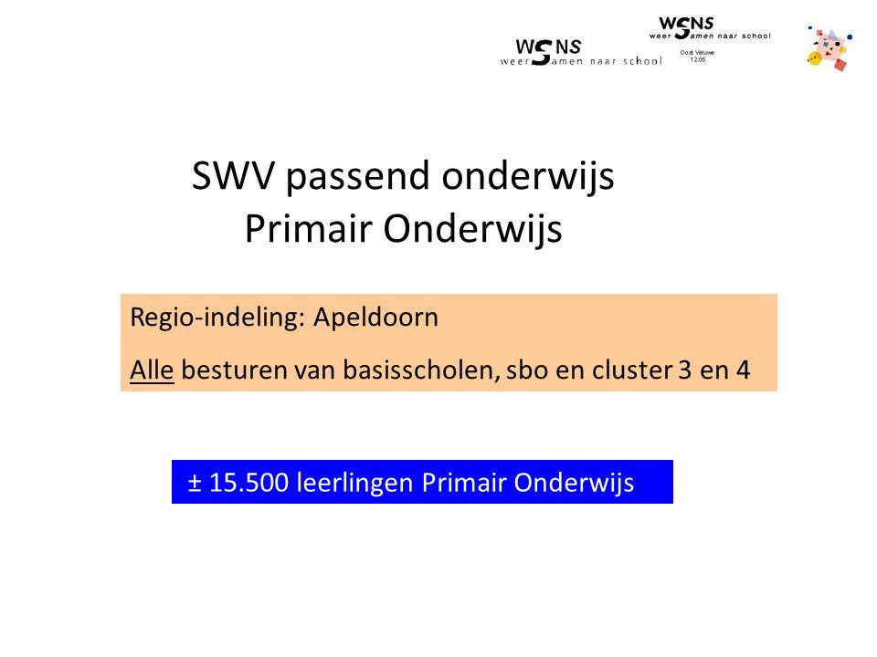 SWV passend onderwijs Primair Onderwijs Regio-indeling: Apeldoorn Alle besturen van basisscholen, sbo en cluster 3 en 4 ± 15.500 leerlingen Primair Onderwijs