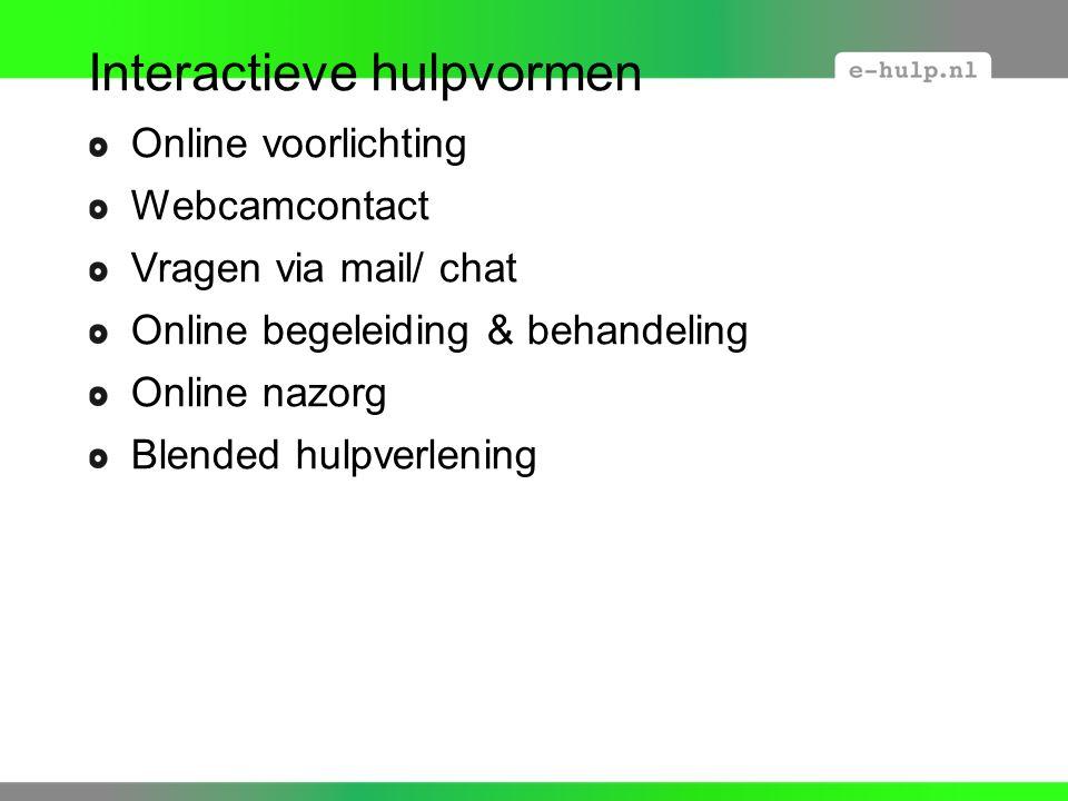 Interactieve hulpvormen Online voorlichting Webcamcontact Vragen via mail/ chat Online begeleiding & behandeling Online nazorg Blended hulpverlening
