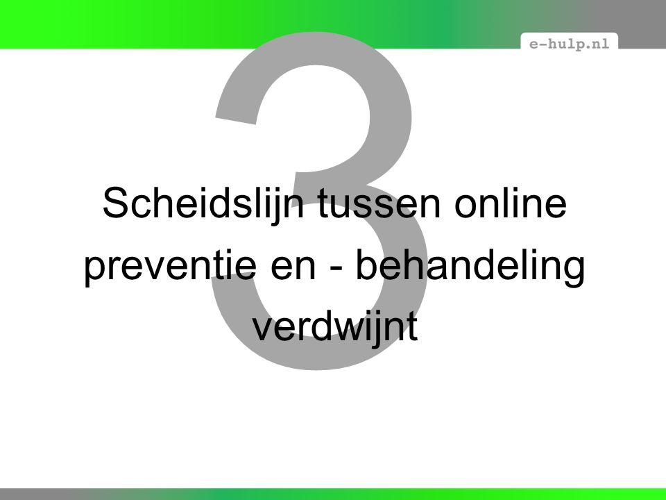 3 Scheidslijn tussen online preventie en - behandeling verdwijnt