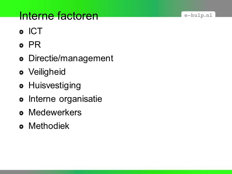 Interne factoren ICT PR Directie/management Veiligheid Huisvestiging Interne organisatie Medewerkers Methodiek