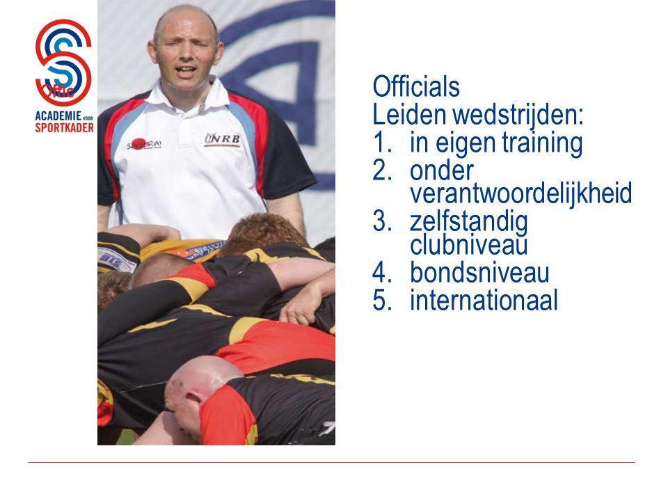 Offic Officials Leiden wedstrijden: 1.in eigen training 2.onder verantwoordelijkheid 3.zelfstandig clubniveau 4.bondsniveau 5.internationaal