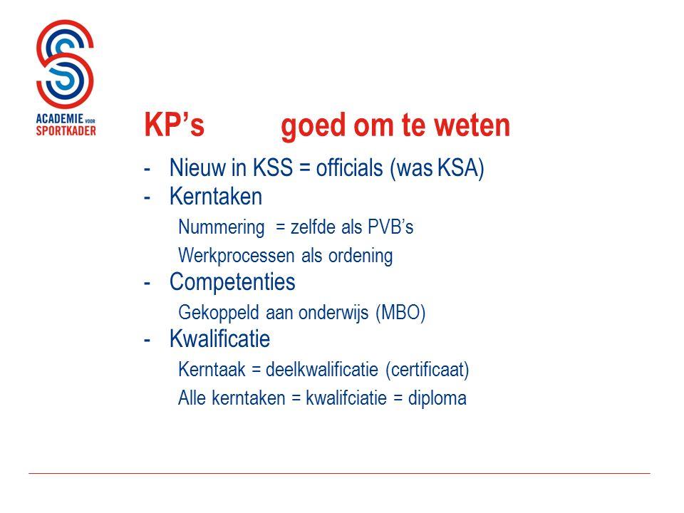 KP's goed om te weten -Nieuw in KSS = officials (was KSA) -Kerntaken Nummering = zelfde als PVB's Werkprocessen als ordening -Competenties Gekoppeld aan onderwijs (MBO) -Kwalificatie Kerntaak = deelkwalificatie (certificaat) Alle kerntaken = kwalifciatie = diploma