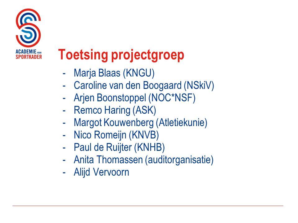Toetsing projectgroep -Marja Blaas (KNGU) -Caroline van den Boogaard (NSkiV) -Arjen Boonstoppel (NOC*NSF) -Remco Haring (ASK) -Margot Kouwenberg (Atletiekunie) -Nico Romeijn (KNVB) -Paul de Ruijter (KNHB) -Anita Thomassen (auditorganisatie) -Alijd Vervoorn