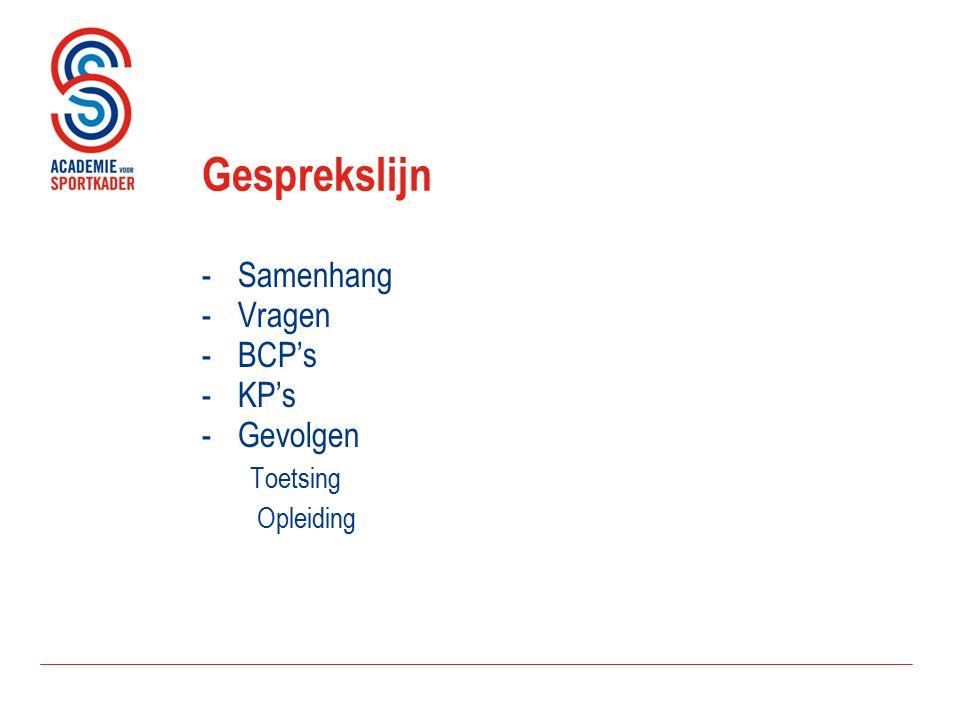 Gesprekslijn -Samenhang -Vragen -BCP's -KP's -Gevolgen Toetsing Opleiding