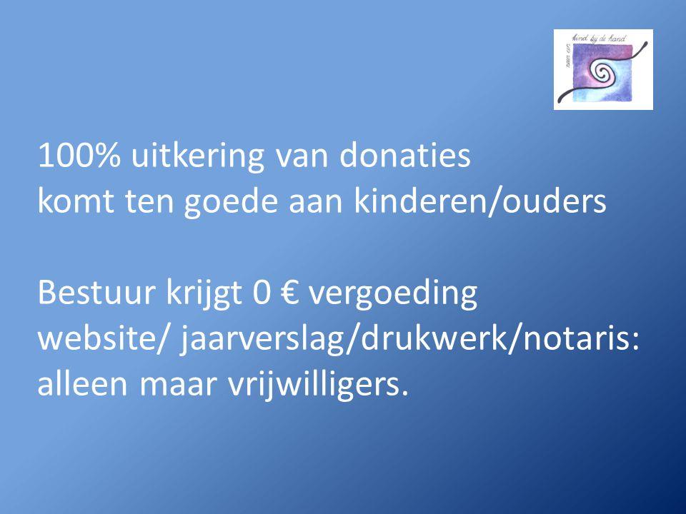 100% uitkering van donaties komt ten goede aan kinderen/ouders Bestuur krijgt 0 € vergoeding website/ jaarverslag/drukwerk/notaris: alleen maar vrijwilligers.