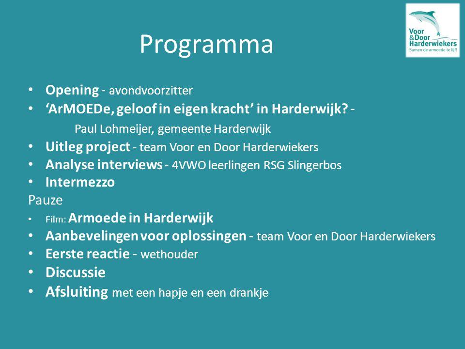 Programma Opening - avondvoorzitter 'ArMOEDe, geloof in eigen kracht' in Harderwijk.