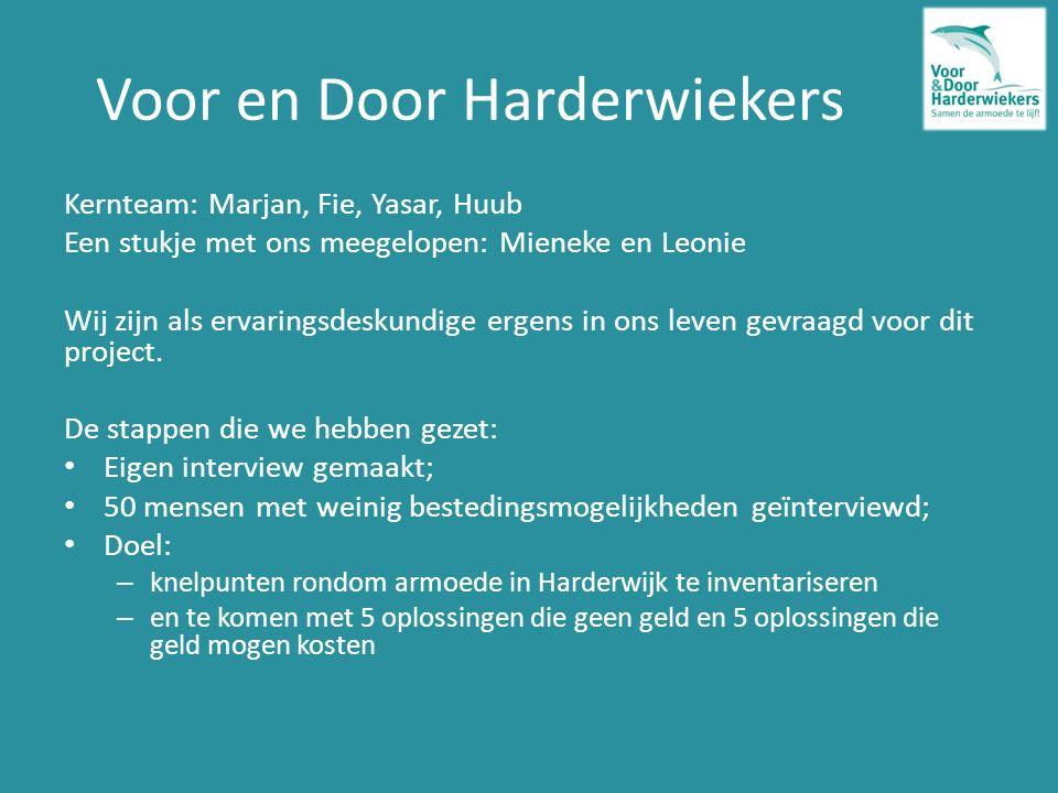 Voor en Door Harderwiekers Kernteam: Marjan, Fie, Yasar, Huub Een stukje met ons meegelopen: Mieneke en Leonie Wij zijn als ervaringsdeskundige ergens in ons leven gevraagd voor dit project.