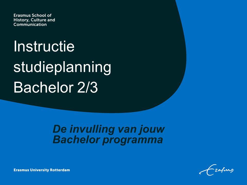 Instructie studieplanning Bachelor 2/3 De invulling van jouw Bachelor programma