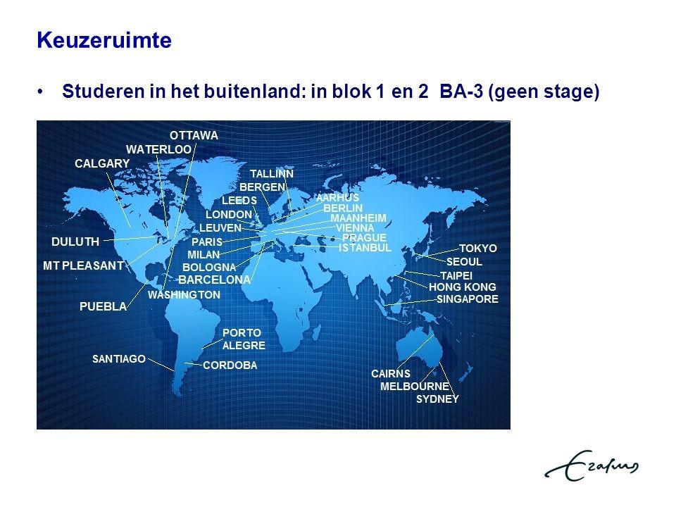 Keuzeruimte Studeren in het buitenland: in blok 1 en 2 BA-3 (geen stage)