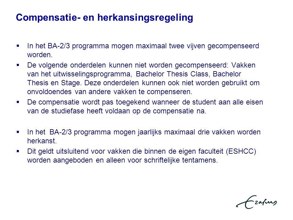  In het BA-2/3 programma mogen maximaal twee vijven gecompenseerd worden.