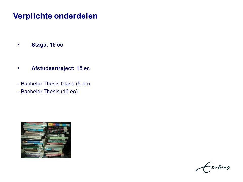 Verplichte onderdelen rdelenVerplichte Stage; 15 ec Afstudeertraject: 15 ec - Bachelor Thesis Class (5 ec) - Bachelor Thesis (10 ec)