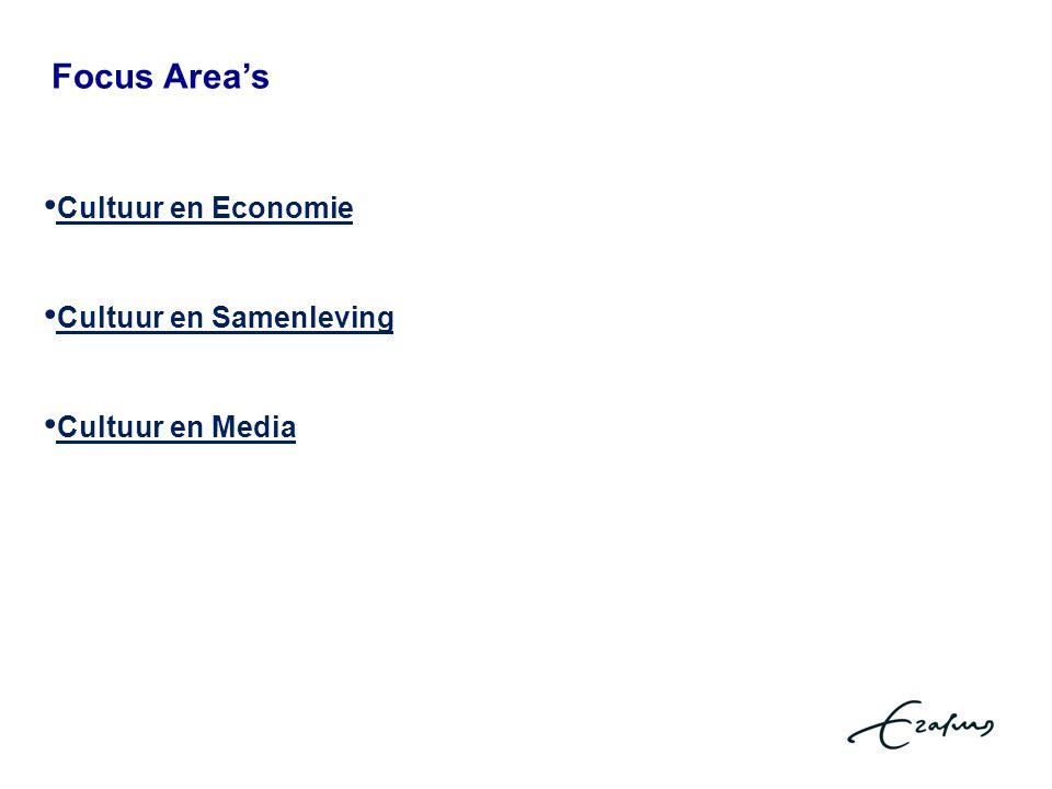 Focus Area's Cultuur en Economie Cultuur en Samenleving Cultuur en Media