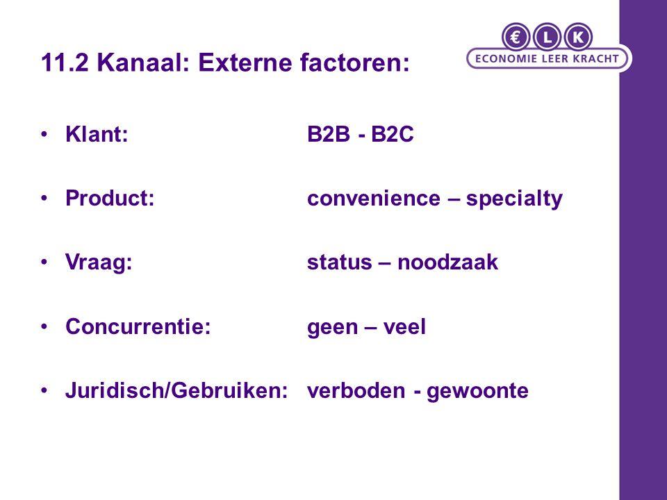 11.2 Kanaal: Externe factoren: Klant: B2B - B2C Product: convenience – specialty Vraag: status – noodzaak Concurrentie:geen – veel Juridisch/Gebruiken: verboden - gewoonte