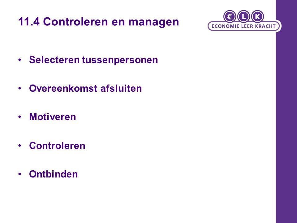 11.4 Controleren en managen Selecteren tussenpersonen Overeenkomst afsluiten Motiveren Controleren Ontbinden