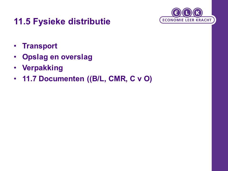 11.5 Fysieke distributie Transport Opslag en overslag Verpakking 11.7 Documenten ((B/L, CMR, C v O)