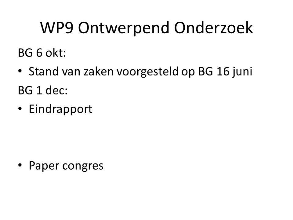 WP9 Ontwerpend Onderzoek BG 6 okt: Stand van zaken voorgesteld op BG 16 juni BG 1 dec: Eindrapport Paper congres