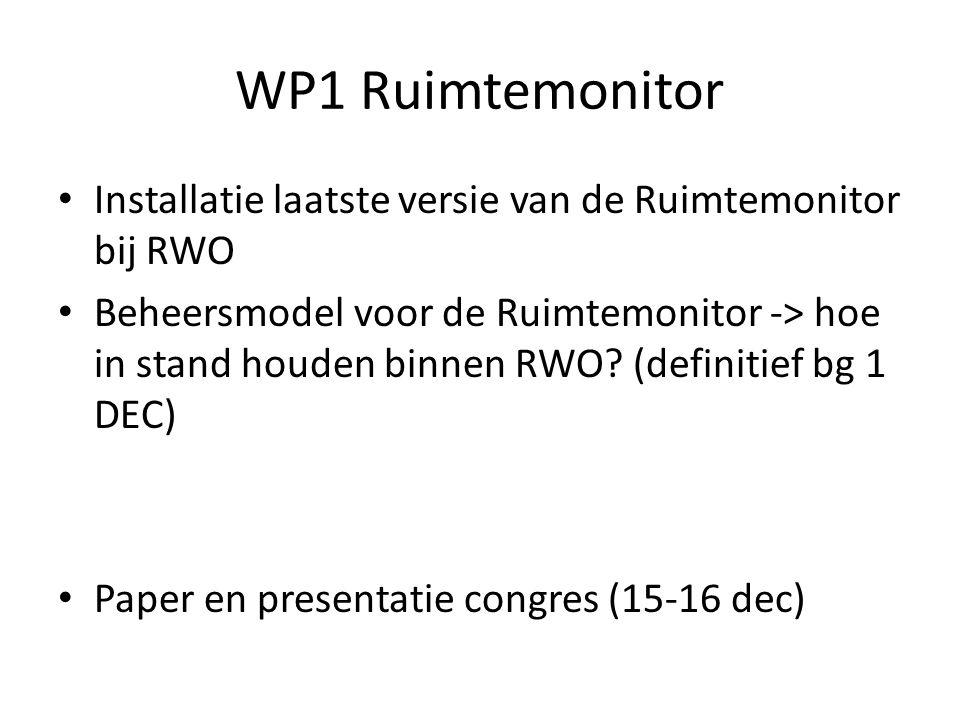 WP1 Ruimtemonitor Installatie laatste versie van de Ruimtemonitor bij RWO Beheersmodel voor de Ruimtemonitor -> hoe in stand houden binnen RWO.