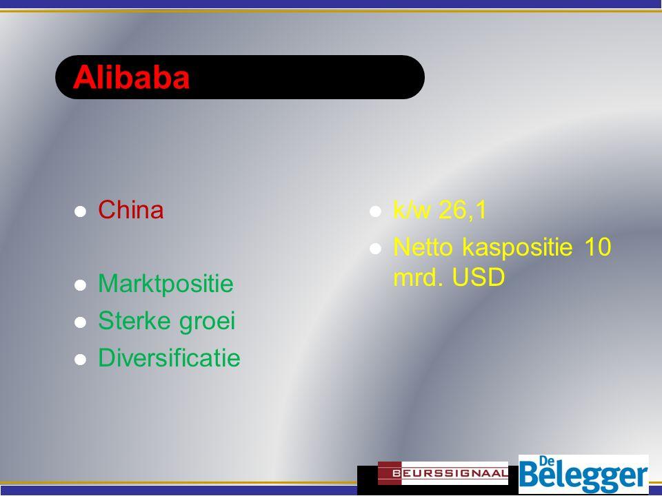 Alibaba China Marktpositie Sterke groei Diversificatie k/w 26,1 Netto kaspositie 10 mrd. USD