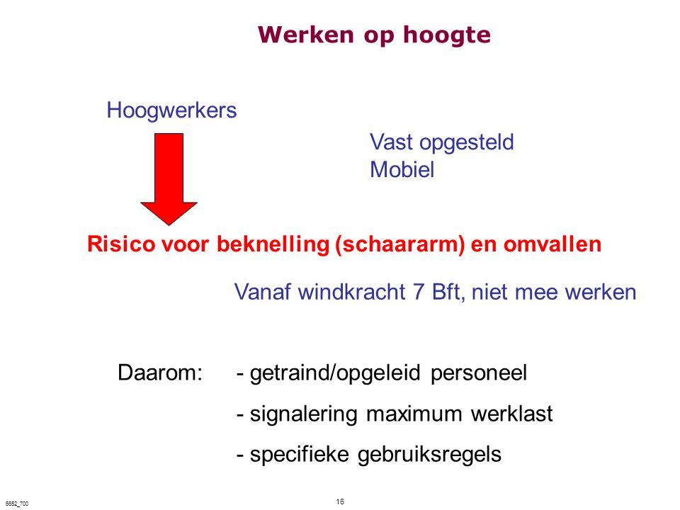 16 6652_700 Hoogwerkers Vast opgesteld Mobiel Risico voor beknelling (schaararm) en omvallen Daarom:- getraind/opgeleid personeel - signalering maximu