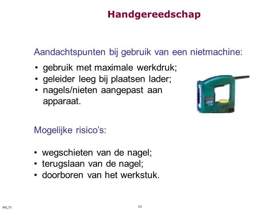 24 6652_700 Aandachtspunten bij gebruik van een nietmachine: gebruik met maximale werkdruk; geleider leeg bij plaatsen lader; nagels/nieten aangepast