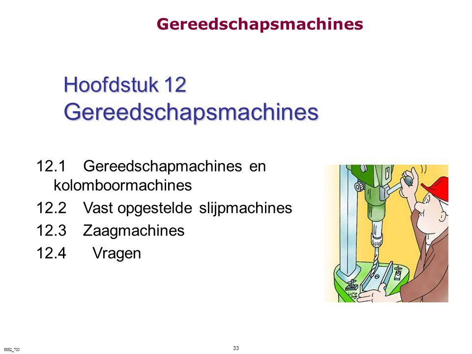 33 6652_700 Hoofdstuk 12 Gereedschapsmachines Hoofdstuk 12 Gereedschapsmachines 12.1 Gereedschapmachines en kolomboormachines 12.2 Vast opgestelde sli
