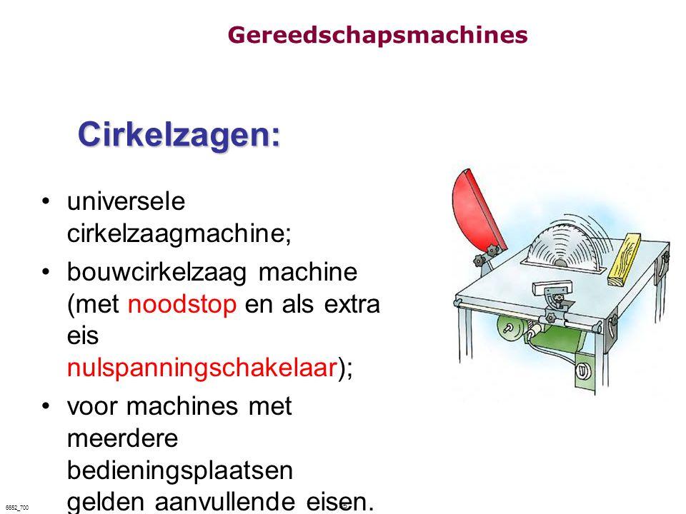 35 6652_700 Cirkelzagen: universele cirkelzaagmachine; bouwcirkelzaag machine (met noodstop en als extra eis nulspanningschakelaar); voor machines met