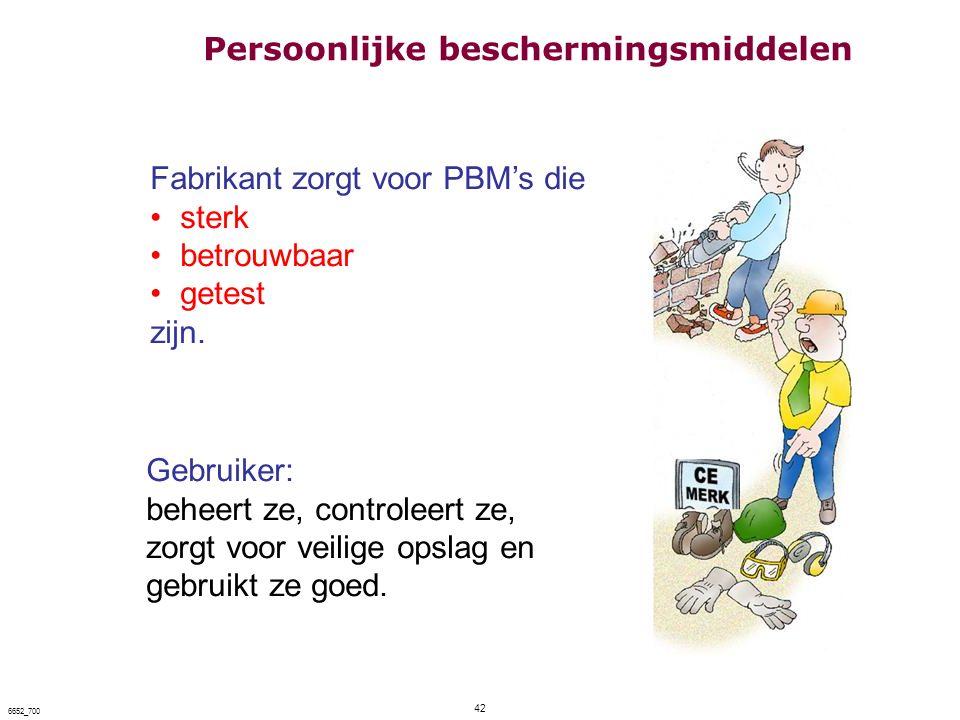 42 6652_700 Fabrikant zorgt voor PBM's die sterk betrouwbaar getest zijn. Gebruiker: beheert ze, controleert ze, zorgt voor veilige opslag en gebruikt