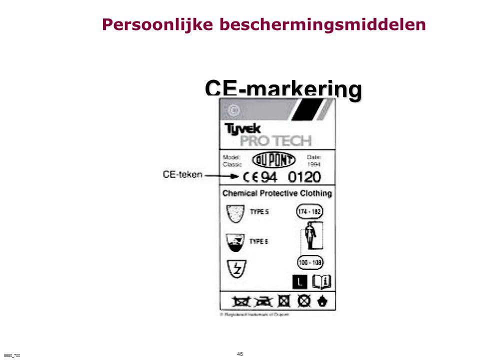 45 6650_700 CE-markering CE-markering Persoonlijke beschermingsmiddelen