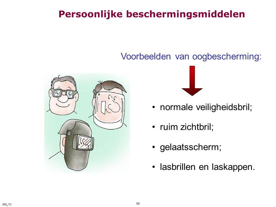 55 6652_700 Voorbeelden van oogbescherming: normale veiligheidsbril; ruim zichtbril; gelaatsscherm; lasbrillen en laskappen. Persoonlijke beschermings