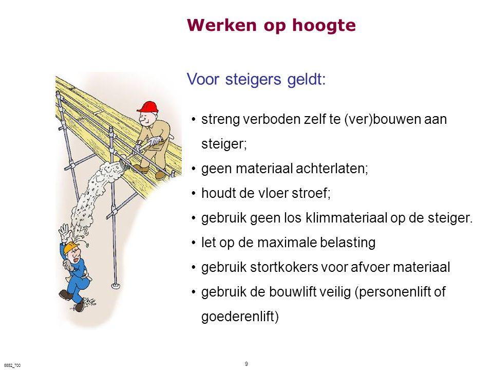 9 6652_700 Voor steigers geldt: streng verboden zelf te (ver)bouwen aan steiger; geen materiaal achterlaten; houdt de vloer stroef; gebruik geen los k