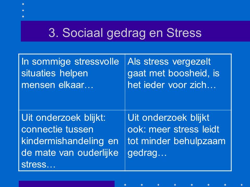 3. Sociaal gedrag en Stress In sommige stressvolle situaties helpen mensen elkaar… Als stress vergezelt gaat met boosheid, is het ieder voor zich… Uit