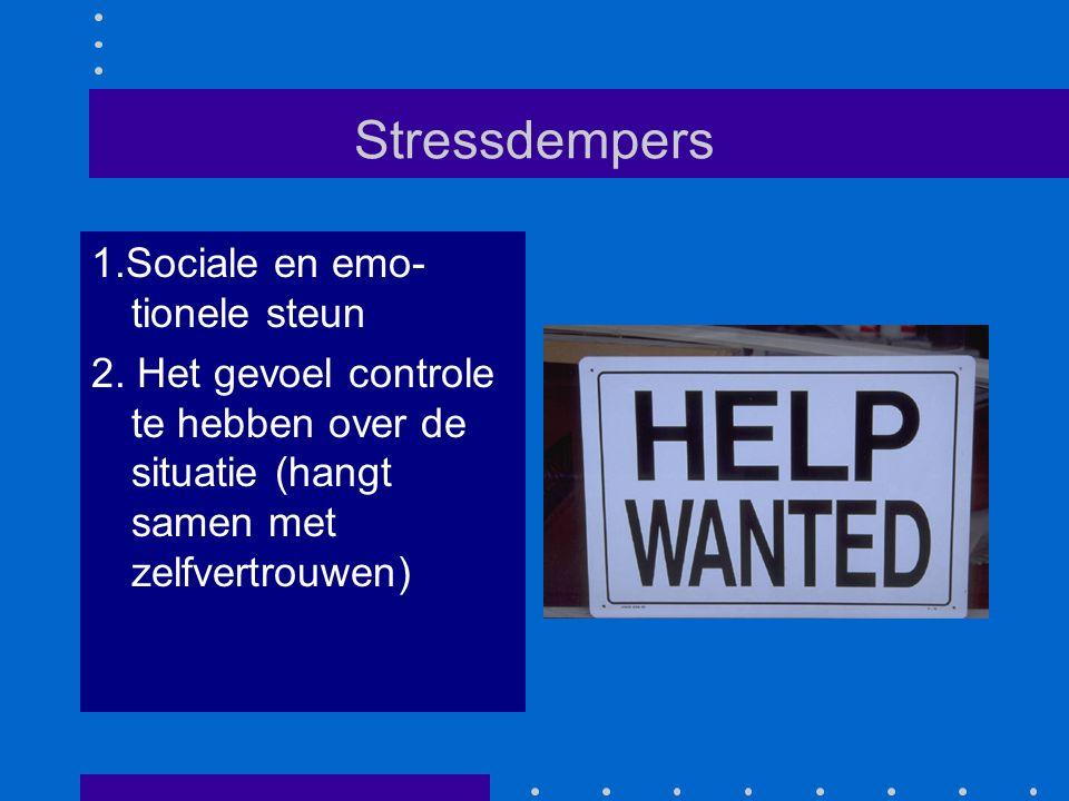 Stressdempers 1.Sociale en emo- tionele steun 2. Het gevoel controle te hebben over de situatie (hangt samen met zelfvertrouwen)
