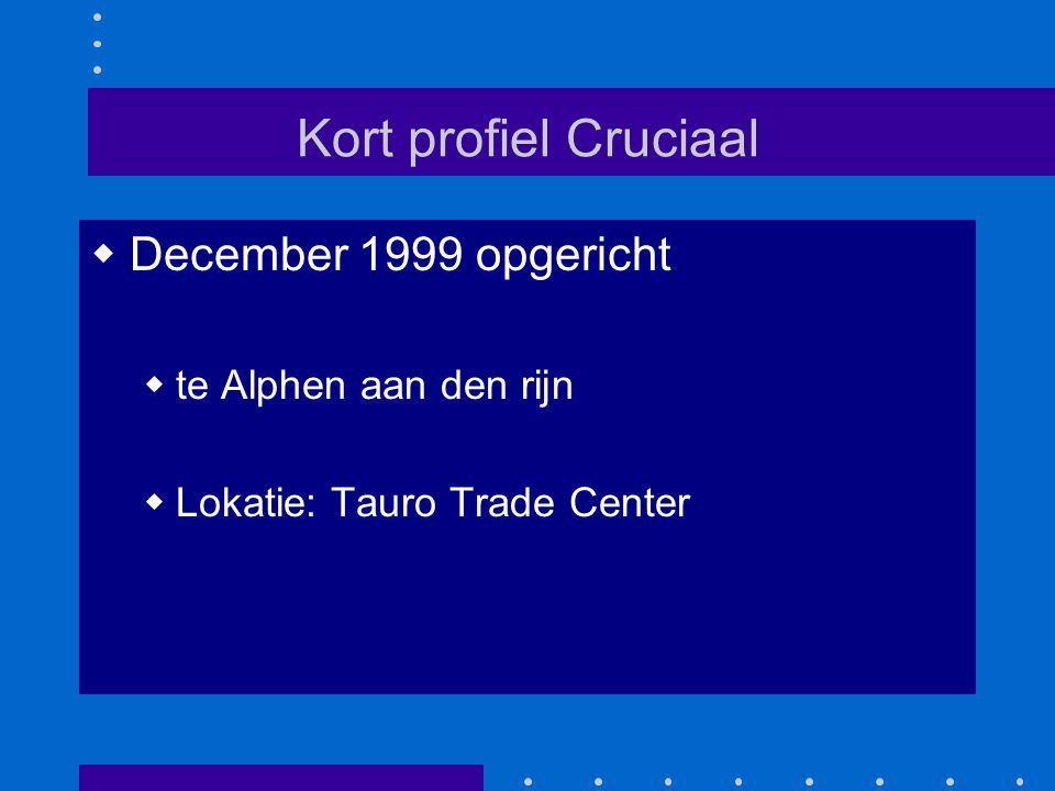 Kort profiel Cruciaal  December 1999 opgericht  te Alphen aan den rijn  Lokatie: Tauro Trade Center