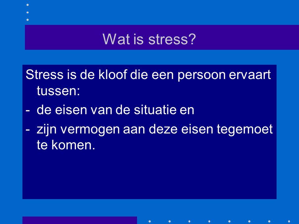 De waarneming van stress Deze kloof tussen eisen en kunnen kan echt zijn, of een vertekende overtuiging van de persoon.