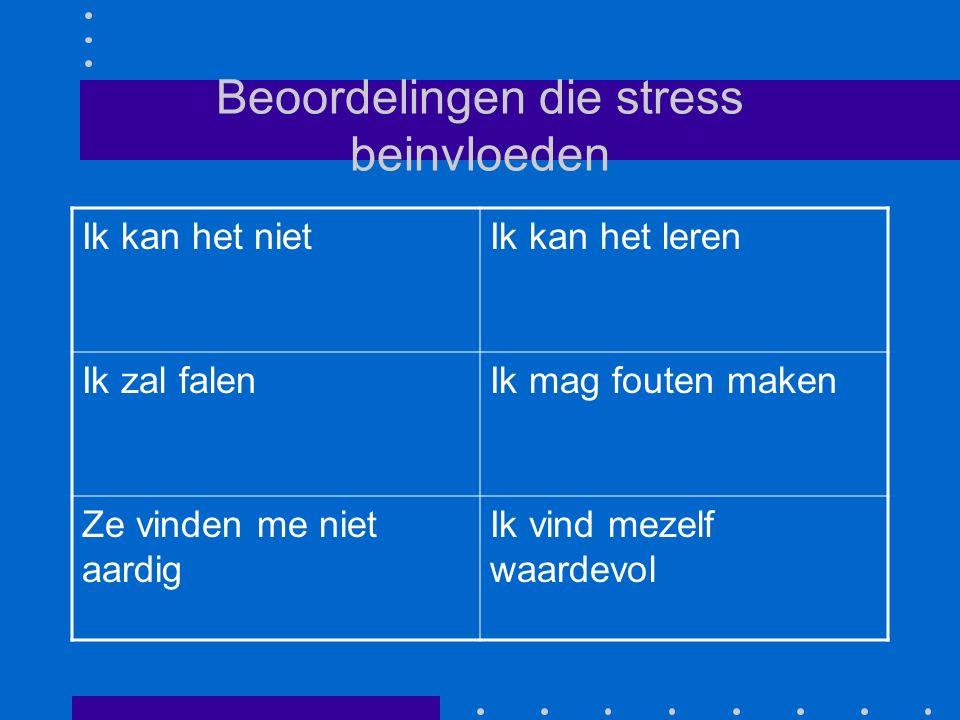 Beoordelingen die stress beinvloeden Ik kan het nietIk kan het leren Ik zal falenIk mag fouten maken Ze vinden me niet aardig Ik vind mezelf waardevol