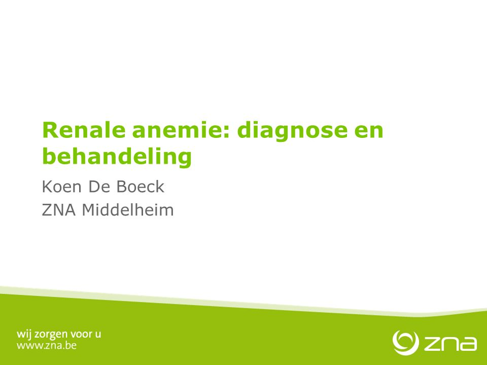 Renale anemie: diagnose en behandeling Koen De Boeck ZNA Middelheim