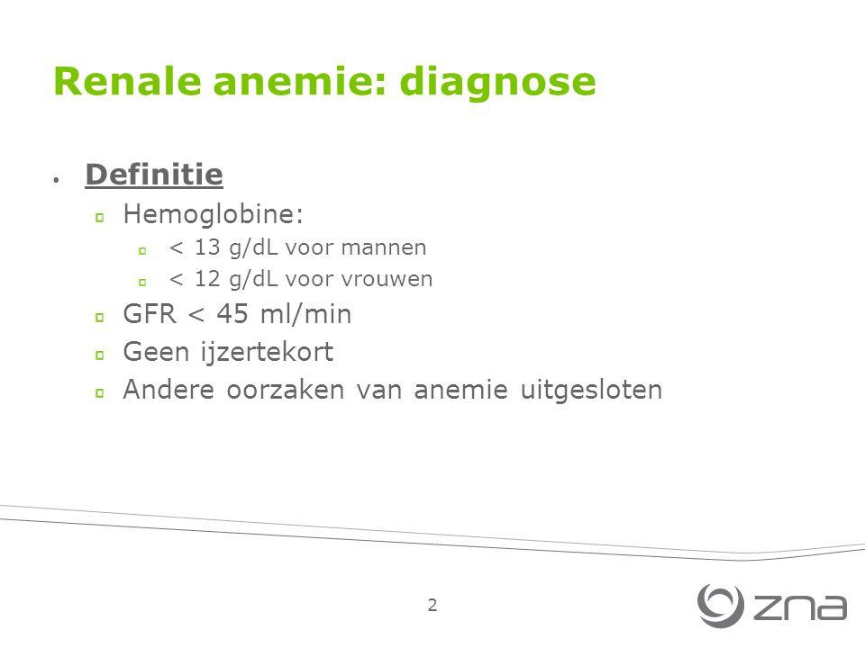 2 Renale anemie: diagnose Definitie Hemoglobine: < 13 g/dL voor mannen < 12 g/dL voor vrouwen GFR < 45 ml/min Geen ijzertekort Andere oorzaken van anemie uitgesloten