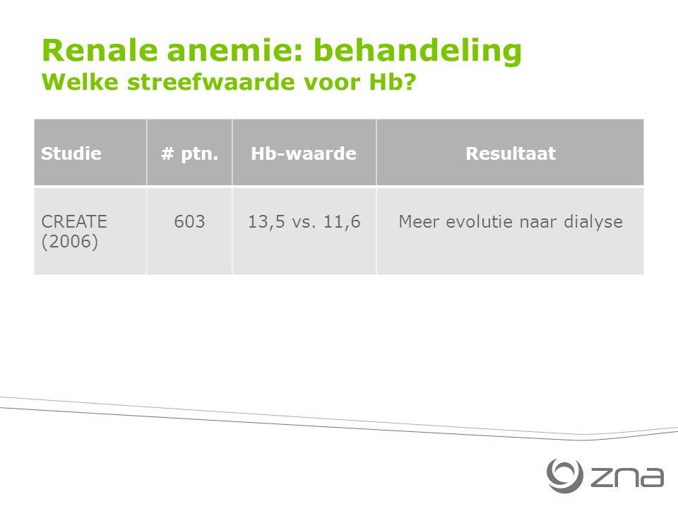 Renale anemie: behandeling Welke streefwaarde voor Hb? Studie# ptn.Hb-waardeResultaat CREATE (2006) 60313,5 vs. 11,6Meer evolutie naar dialyse