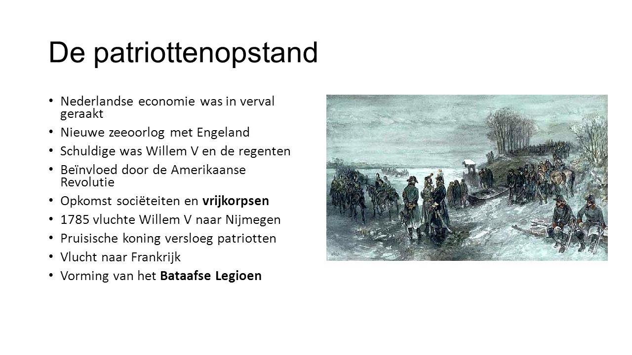 De Bataafse Revolutie 1794 extreem koude winter 1795 aanval Frankrijg op Nederland Met behulp van het Bataafse Legioen Start Bataafse Revolutie Macht verschoof van regenten naar revolutionairen Willem V vluchtte naar Engeland Staten-generaal riep de Bataafse Republiek uit