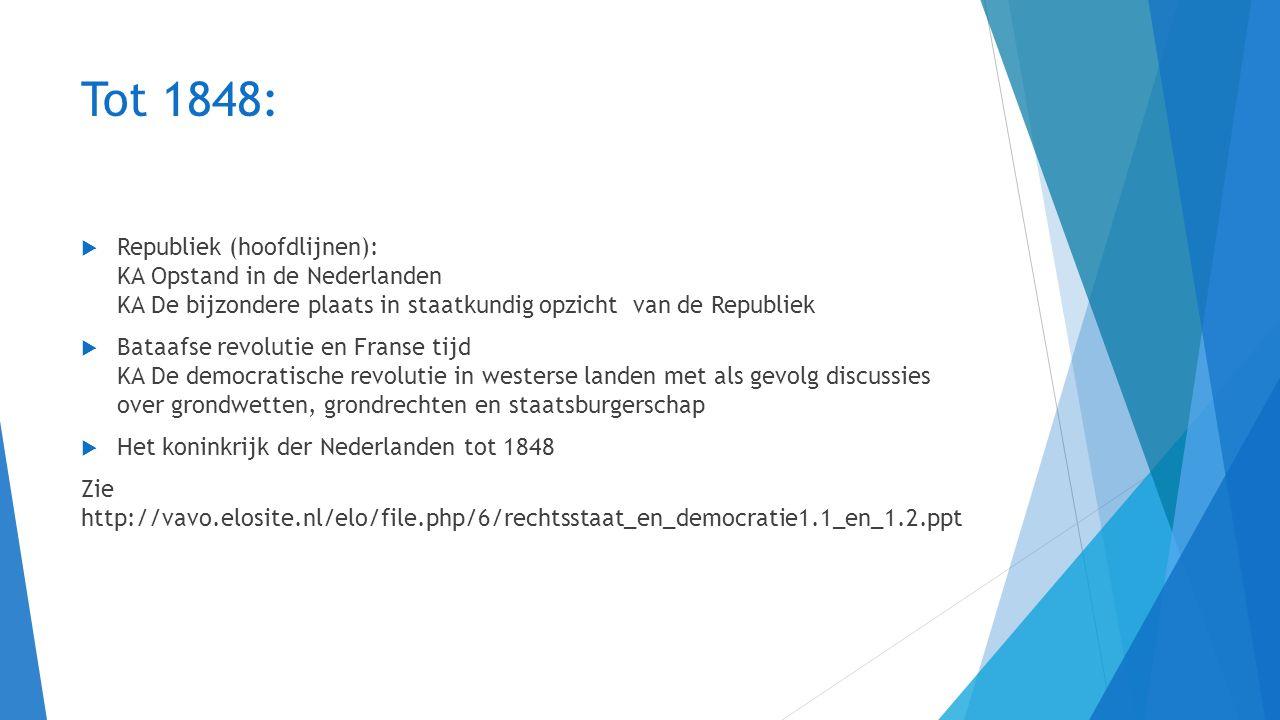 Tot 1919  Grondwet 1848  Oefening Machtenveld:  https://www.prodemos.nl/Voor-scholen/Voor-het-voortgezet-onderwijs/Lesmateriaal- voortgezet-onderwijs-en-mbo/Rechtsstaat https://www.prodemos.nl/Voor-scholen/Voor-het-voortgezet-onderwijs/Lesmateriaal- voortgezet-onderwijs-en-mbo/Rechtsstaat  Sociale kwestie, kiesrechtstrijd en schoolstrijd  KA Discussies over de sociale kwestie KA De opkomst van politiek-maatschappelijke stromingen liberalisme, socialisme, confessionalisme en feminisme  KA Voortschrijdende democratisering met deelname van steeds meer mannen en vrouwen aan het politiek proces
