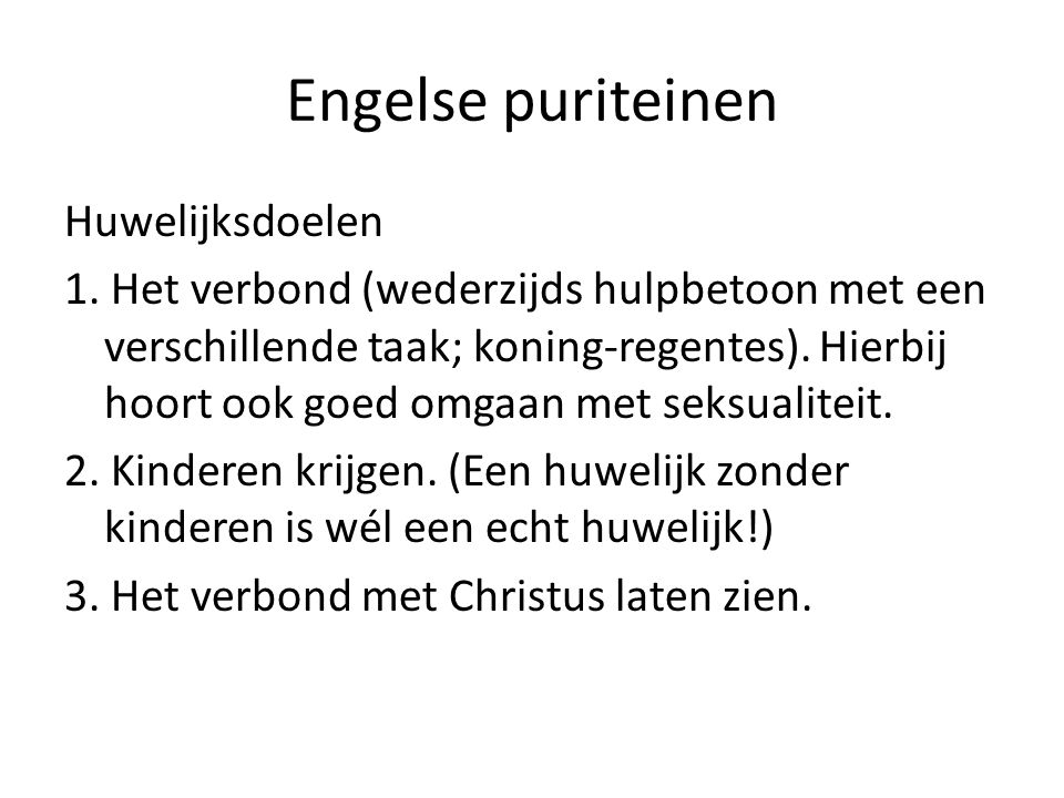 Engelse puriteinen Huwelijksdoelen 1.