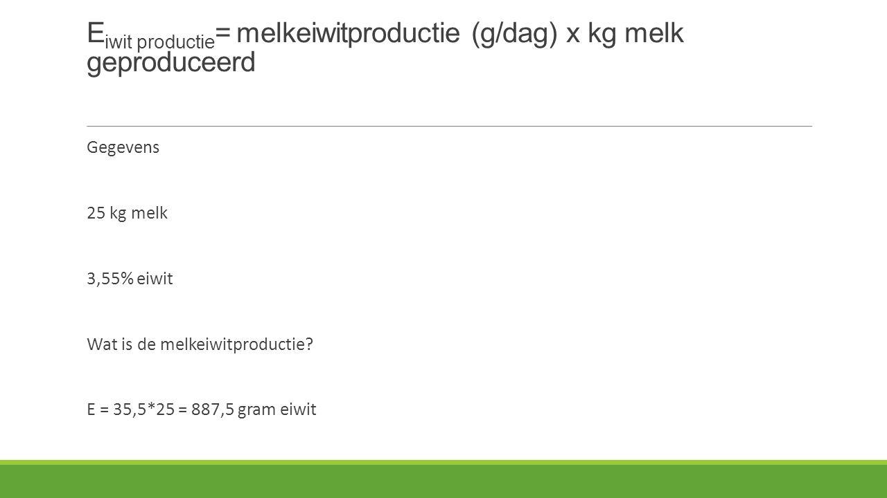 E iwit productie = melkeiwitproductie (g/dag) x kg melk geproduceerd Gegevens 25 kg melk 3,55% eiwit Wat is de melkeiwitproductie.