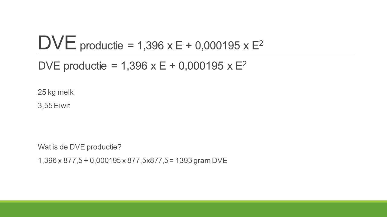 DVE productie = 1,396 x E + 0,000195 x E 2 25 kg melk 3,55 Eiwit Wat is de DVE productie.